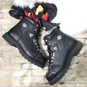 HARLEY DAVIDSON Black Leather Boots Metal Logo Sz9